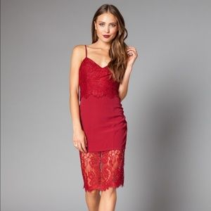 NWT Lovers + Friends Red Lace Dress